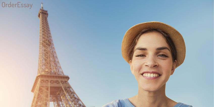 Girl Taking Selfie in front of Eiffel Tower