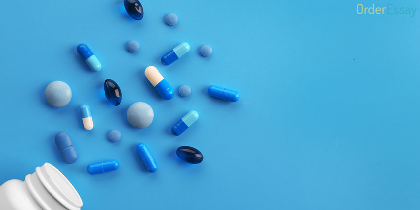 Heap of Pills Blue Background